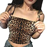 Womens Casual Tank Tops, Leopard Print Vest Halter Strapless Blouse Camisole
