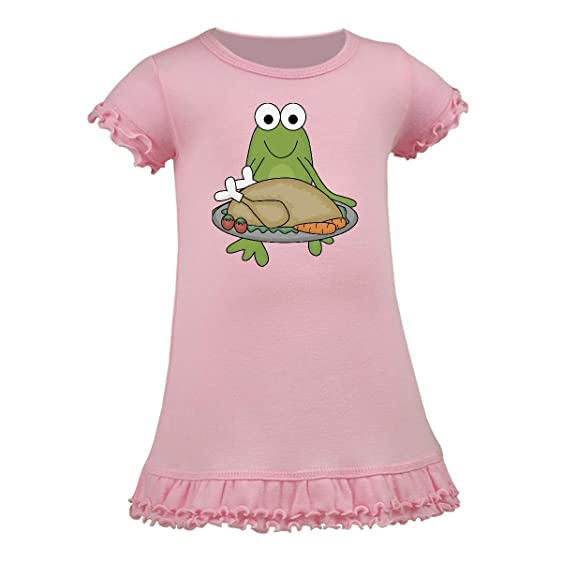 Amazon inktastic green frog holding a cooked turkey toddler inktastic green frog holding a cooked turkey toddler dress 3t pink publicscrutiny Image collections