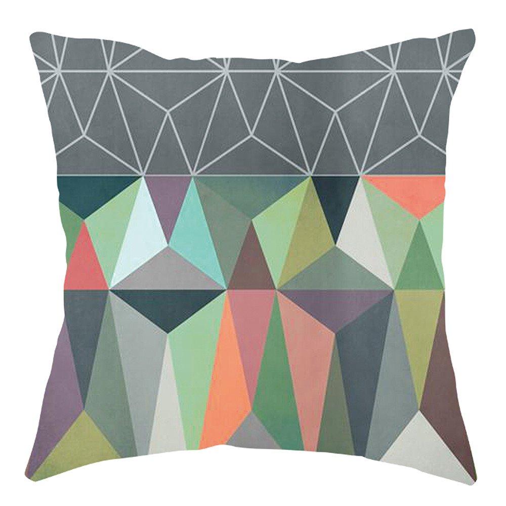 Pgojuni Home Cushion Cover Geometric Throw Pillow Cover Square Accent Cushion Cover Pillow Case for Sofa/Car/Bed 1pc (G)