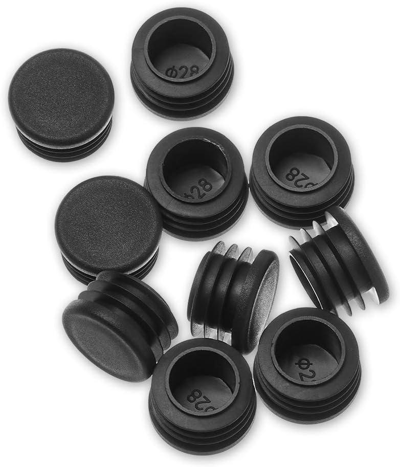 10 unidades por paquete de tapones de pl/ástico negro en tubo redondo de acero para la cabeza de la mesa de la silla de la silla del pie de la almohadilla protector de suelo