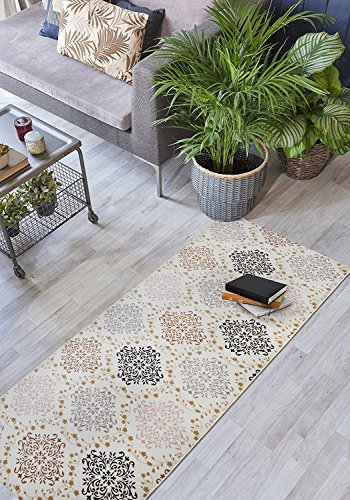 - Custom Size Damask Hallway Runner Rug Non-Slip (Slip Resistant) Rubber Back, Anti-Bacterial, 31 Inch Wide x Your Choice of Length Size Many Color Options, Amber Collection, Brown, 31 inch X 12 feet