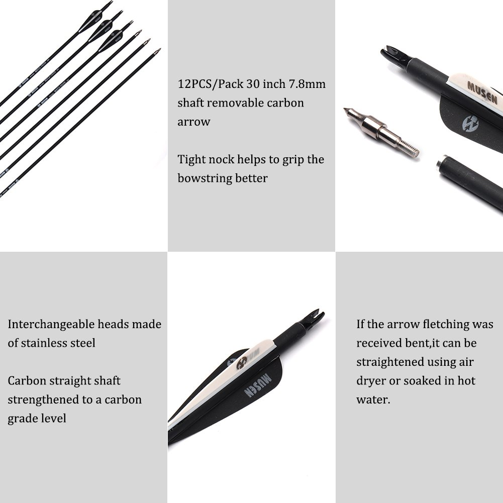 Musen 30 Inch Carbon Shaft Archery Arrows, Spine 500 with Replaceable Field Point Tips, Hunting & Target Practice Arrows for Compound Bow & Recurve Bow (12 Pack) by M MUSEN (Image #4)