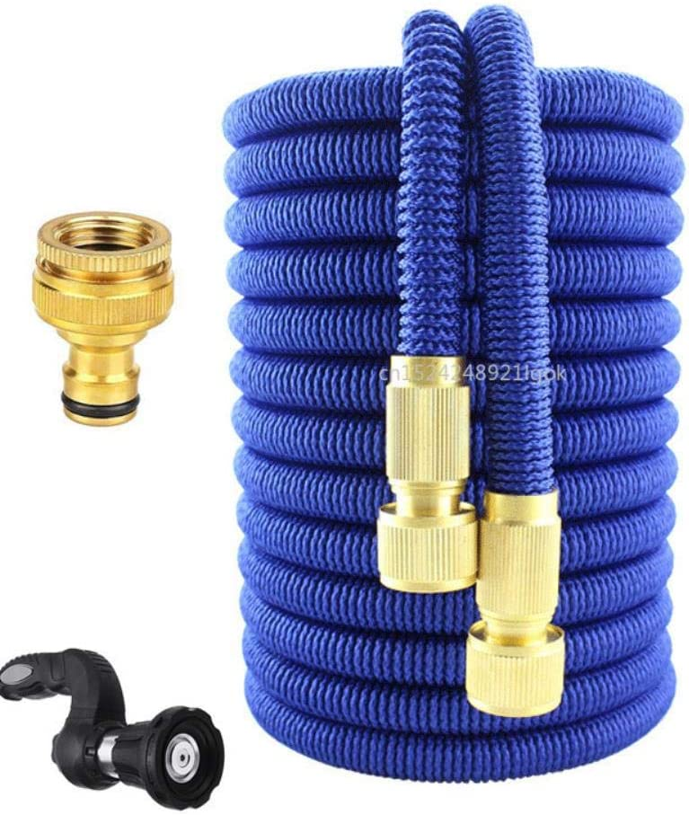 CHUYU High Pressure Garden Water Hose with Washer Gun Pressure Washer Blaster Nozzle for Watering The Lawn Car Washing Garden Tools,Blue 100ft Black 100ft