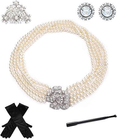 Audrey Hepburn Pearl Necklace Earring Bracelet Costume Jewelry Accessory Set