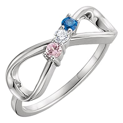 5f5f71664d791 Family Mothers Ring 3 4 or 5 Birthstones (Swarovski zirconia) Solid 10k  White or Yellow or Rose Gold
