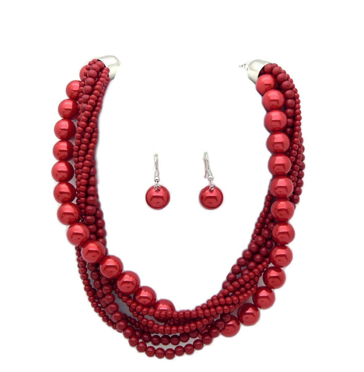 Fashion 21 Women's Twisted Multi-Strand Simulated Pearl Statement Necklace and Earrings Set (Red Wine)