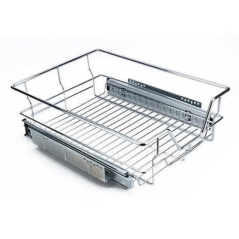 Zerone Cesto Extraíble, 40CM Cajón Telescópico Cocina Superficie Soporte de Metal Cromado Cesto Extraible Armario
