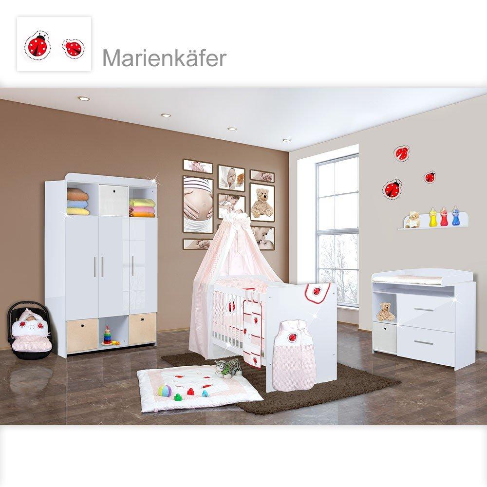 Babyzimmer Mexx in Weiss Hochglanz 11 tlg. mit 3 türigem Kl. + Marienkaefer Rot