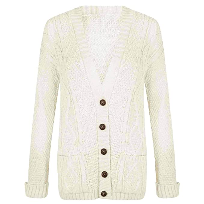 WOMENS LONG SLEEVE CHUNKY CABLE KNITTED BUTTON LADIES GRANDAD LONG CARDIGAN 8-22