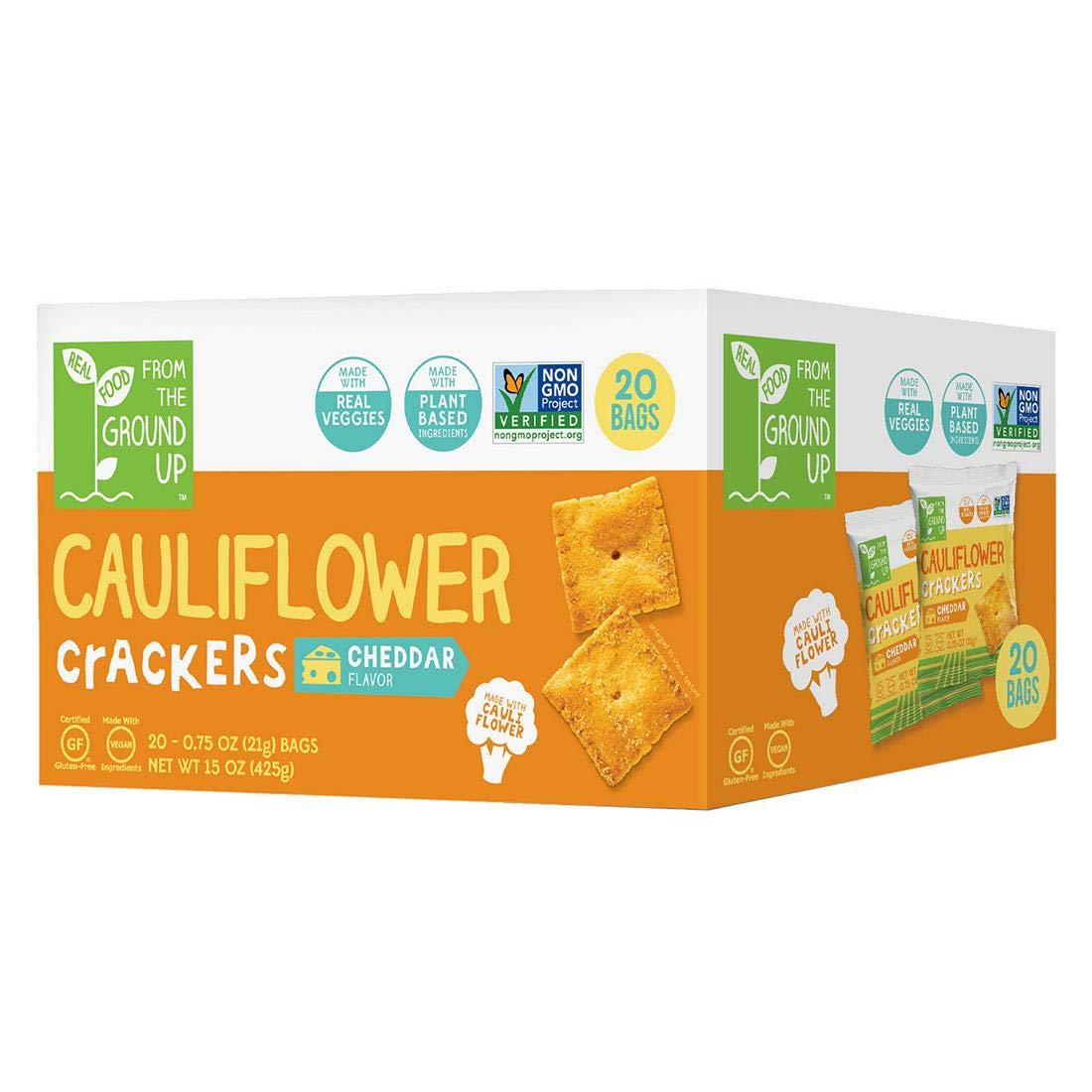From The Ground Up Cauliflower Crackers 20 Packs of .75oz