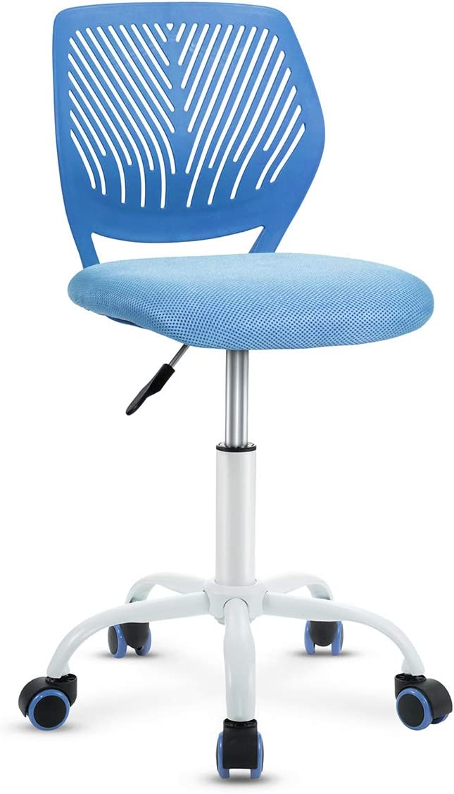 Giantex Low-Back Computer Desk Chair, Adjustable Kids Desk Chair Small Home Study Chair, Swivel Armless Mesh Task Office Chair w/Adjustable Height & Lumbar Support (Blue)