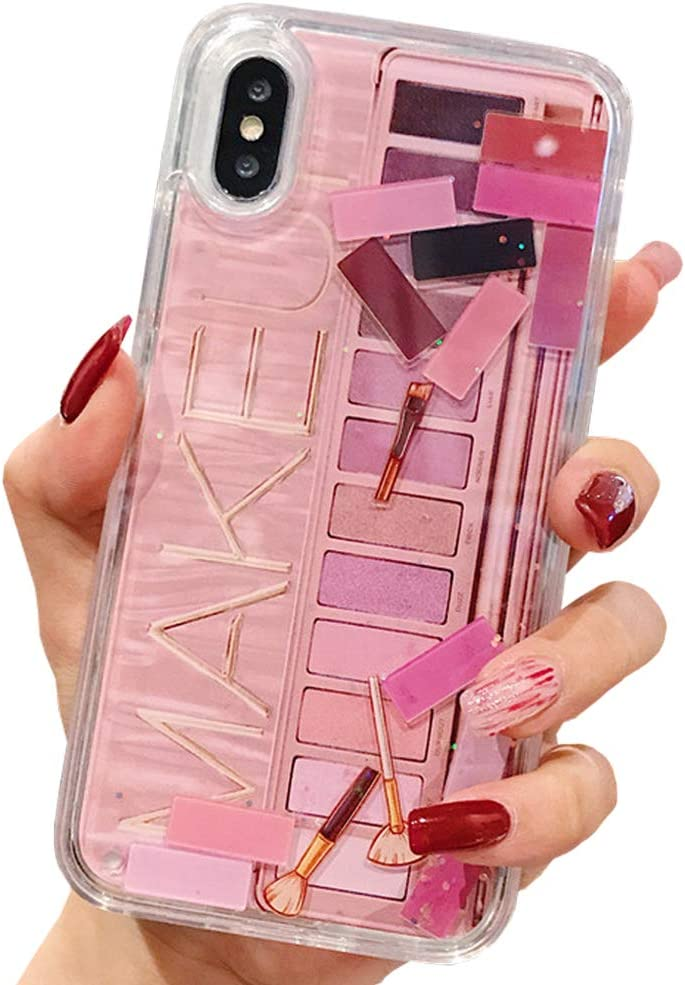 Liquid Quicksand Case for iPhone XR, Glitter Shinny Sequins Cosmetic Eye Shadow Box Soft TPU Bumper Hard Back Shockproof Protective Case (Pink, iPhone XR)
