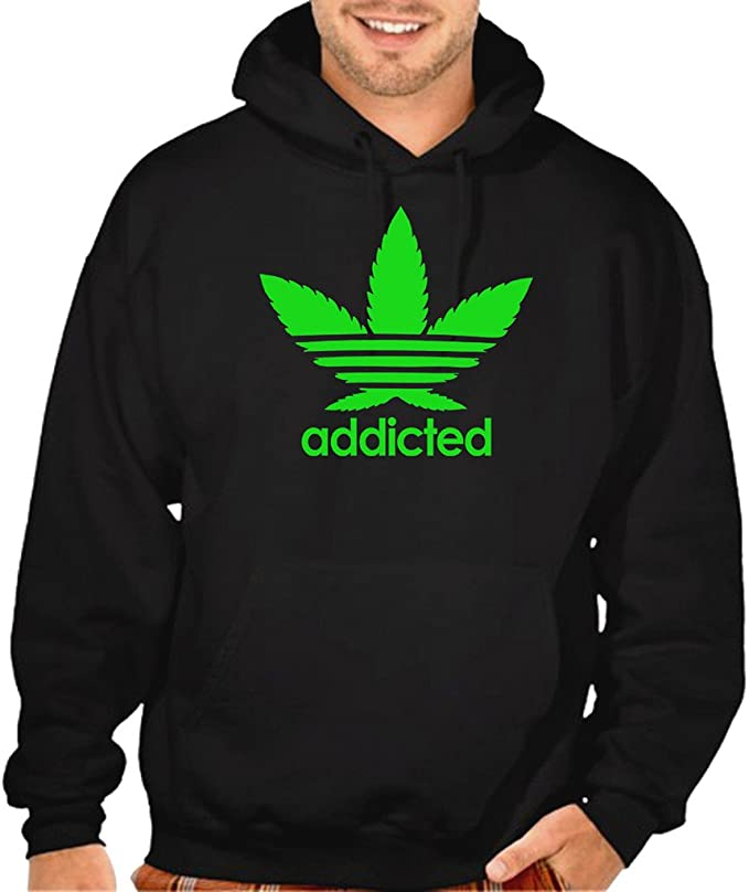 500401ba6 Cannabis Leaf Addicted V355 Men's Black Pullover Hoodie Sweater Black