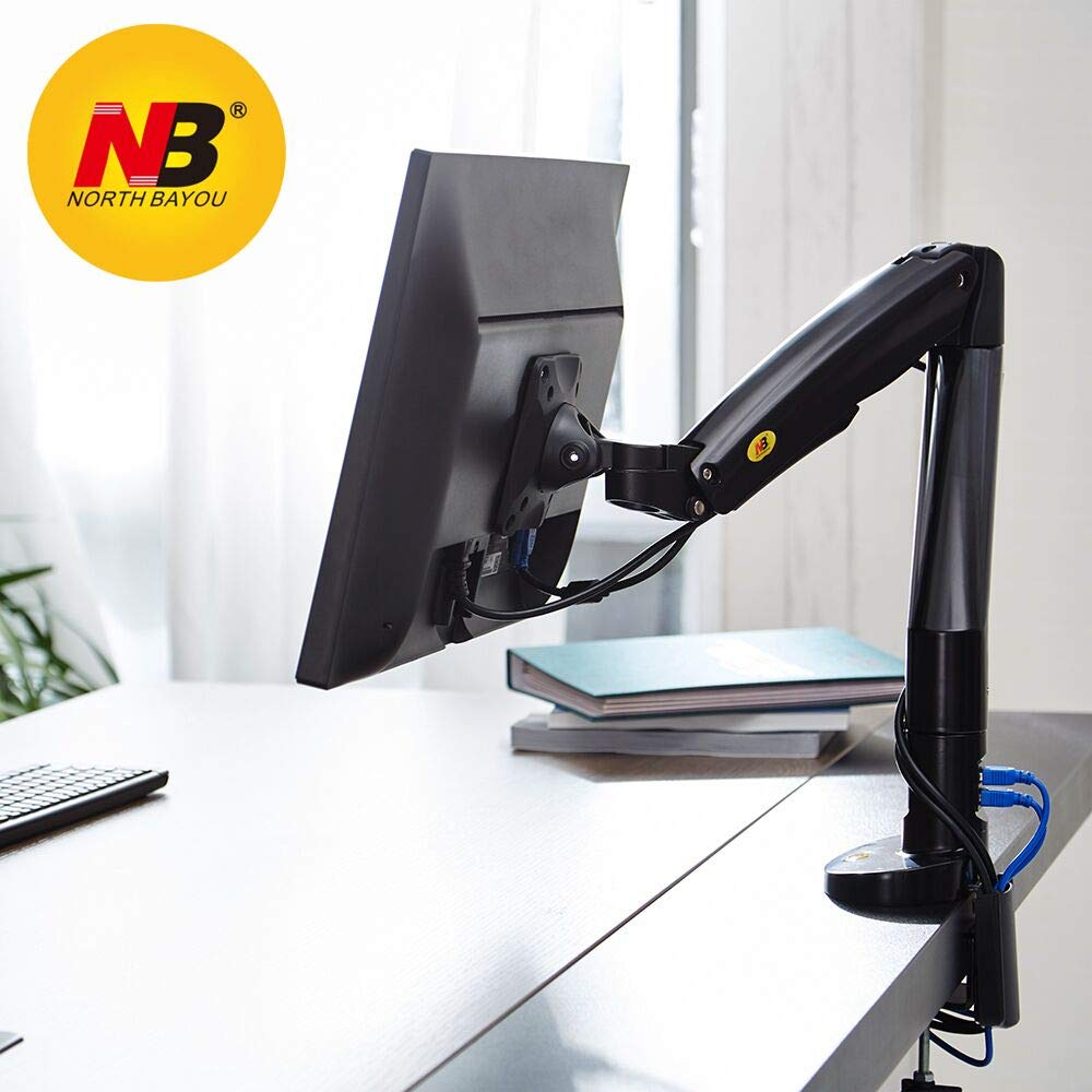 North Bayou Monitor Desk Mount Stand Fully Adjustable Computer Monitor Arm for 22'' -35'' Monitor up to 19.8lbs F100A-W LTD