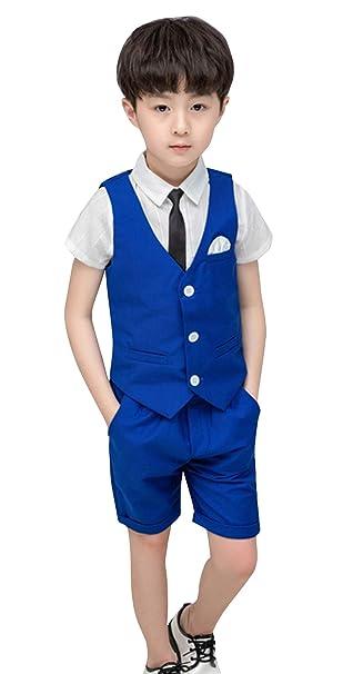 Disfraz de niño de Boda de 4 Piezas, Chaleco + Camisa + ...