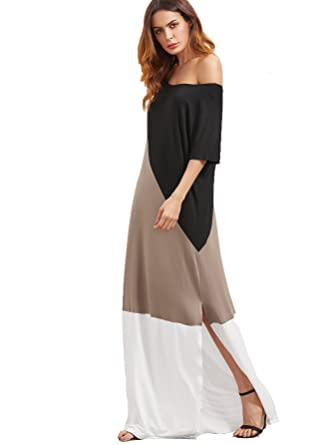 6e4380bb2e0 Verdusa Women s Summer Color Block Side Split Loose Maxi Long Dress  Black-Grey XS