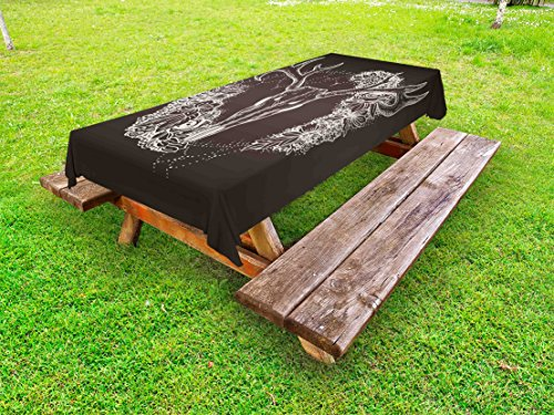 Lunarable Vintage Outdoor Tablecloth, Deer Silhouette with Ornamental Flowers Animal Themed Design Bohemian, Decorative Washable Picnic Table Cloth, 58 X 84 inches, Dark Taupe and Beige by Lunarable