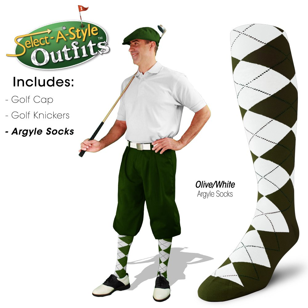 Golf Knickers Mens Select-A-Style Outfit - Olive - Waist 40 - Sock - OL/NY/KH by Golf Knickers (Image #4)