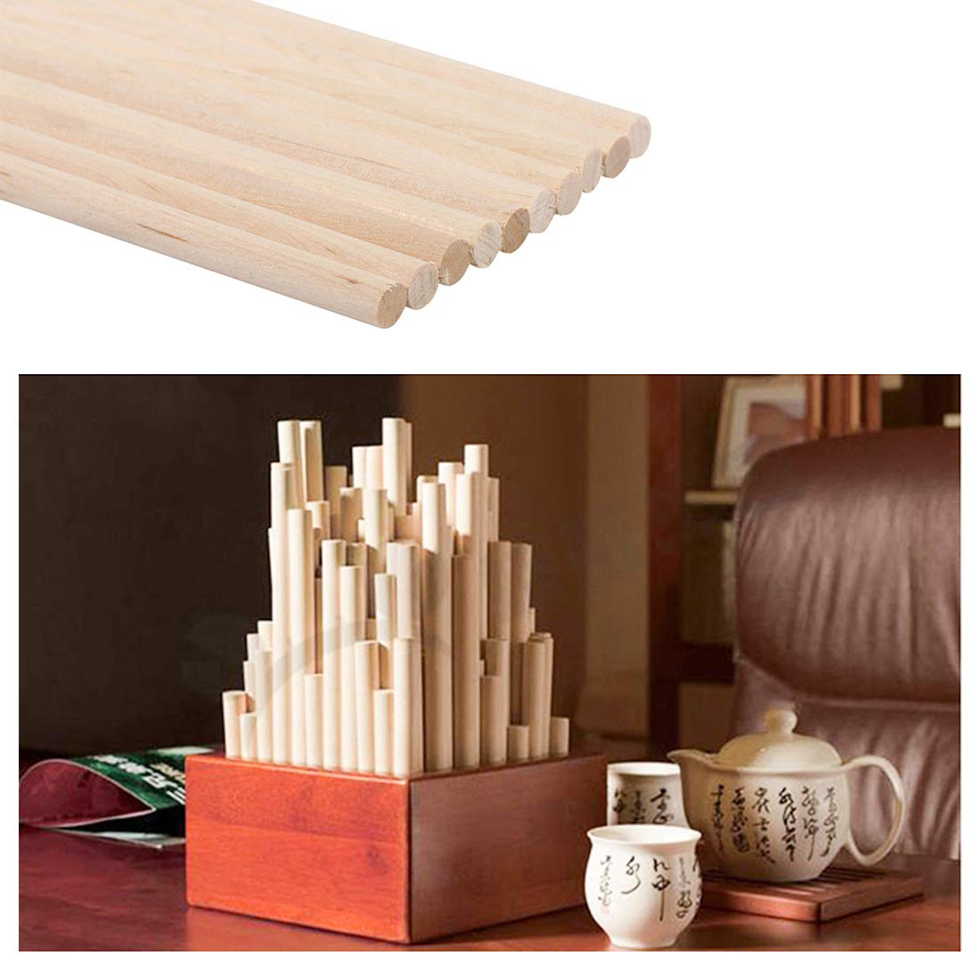 Bamboo Dowel Rods 100 Pcs Woodcraft Sticks for Craft Projects Making Building Woodcraft Kids Educational Toys Unfinished Natural Wood 5mm