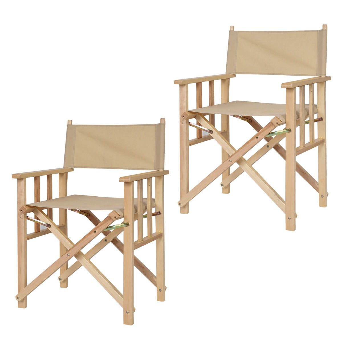 New MTN-G 34'' Set Of 2 Folding Makeup Director Chairs Wood Camping Fishing Beige