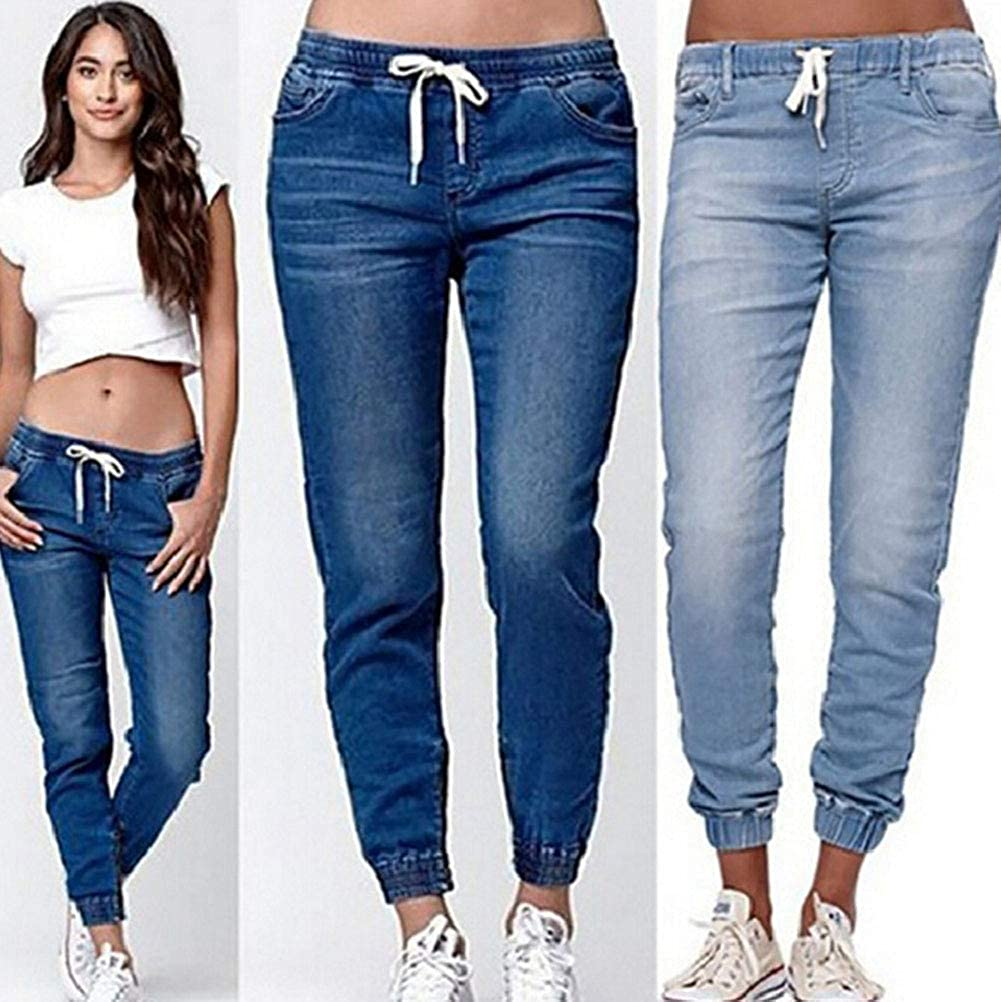 Onsoyours Jeans Donna Casual Pants con Coulisse Elastico Vintage Comodi Trousers Colore Solido Loose Pantaloni in Denim Streetwear