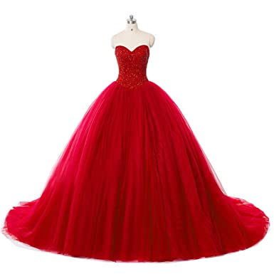 Weierxi Puffy Red Quinceanera Dresses Sweet 16 Dresses Ball Gowns Prom Dress (US 2)
