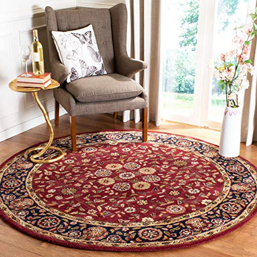 Safavieh Heritage Collection HG966A Handcrafted Traditional Oriental Red and Navy Wool Round Area Rug (6' Diameter)