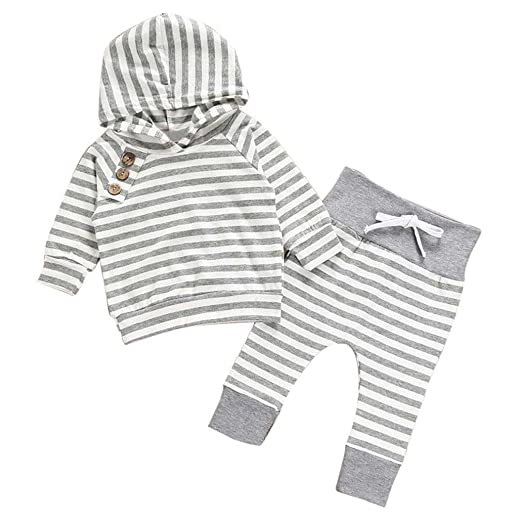 b8fd6feebe98 Image Unavailable. Image not available for. Color  ViWorld Newborn Baby  Boys Girls Long Sleeve Hoodie Sweatshirt Top + Striped Pants Outfits ...
