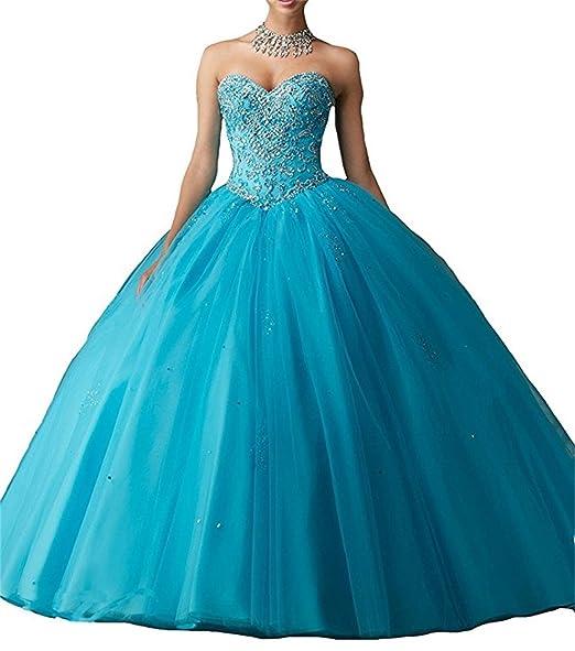 ANJURUISI Womens Sweetheart Vestidos DE 16 Royal Ball Prom Gowns Quinceanera Dresses Aqua Blue-UK6