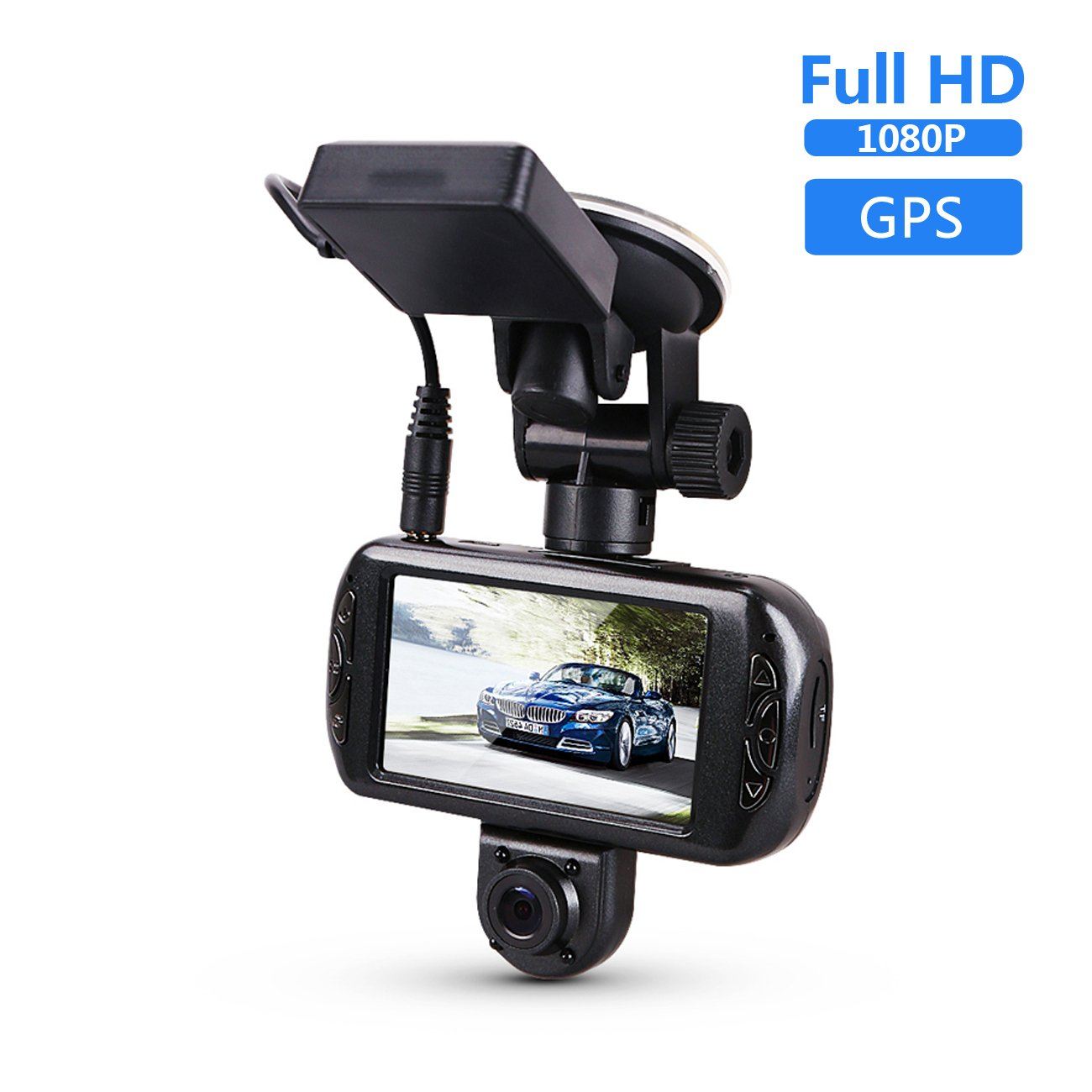 BLUEPUPILE 3.0'' Dual Dash Cam with GPS ,1080P Dashboard Camera ,170°View Angle,Portable Car Dash Camera Recorder Car DVR. Suport 64G by BLUEPUPILE