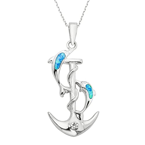 Beaux Bijoux Sterling Silver Created Blue Opal Dolphins Anchor CZ Pendant with 18 Chain