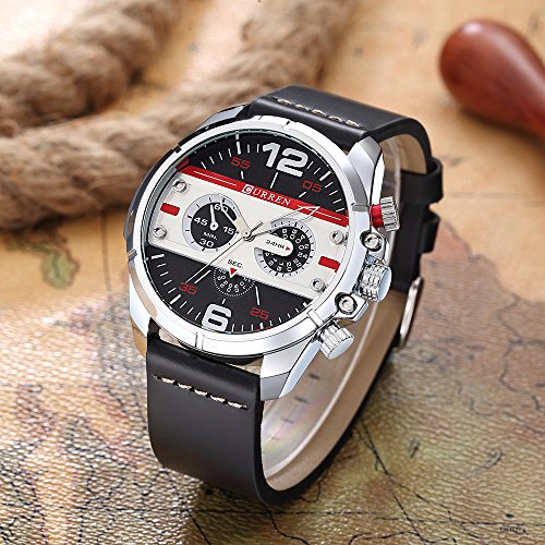 CURREN Original Brand Men's Sports Waterproof Leather Strap Wrist Watch 8259 Silver Black White