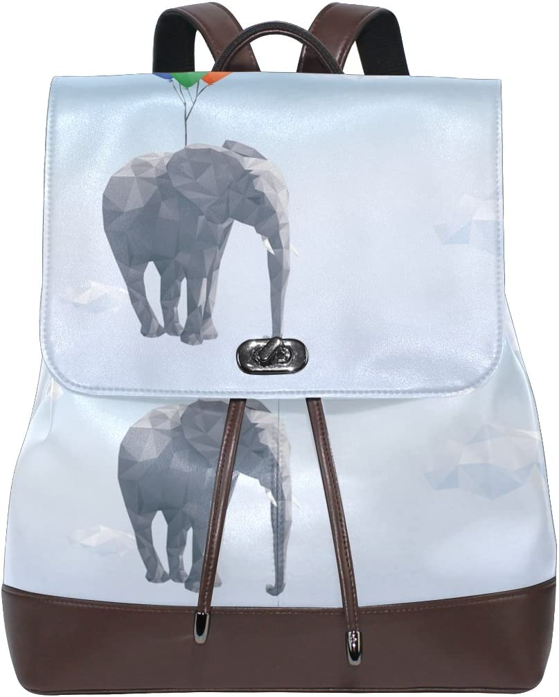 KUWT Flying Elephant with Balloon PU Leather Backpack Animal Photo Custom Shoulder Bag School College Book Bag Rucksack Casual Daypacks for Women and Girl