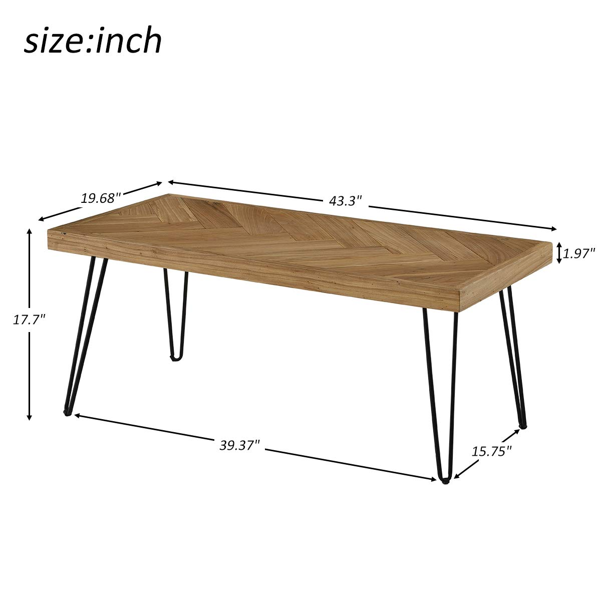 Easy Assembly Center Table Nature Cocktail Table for Living Room w//Chevron Pattern /& Metal Hairpin Legs Nature Rustic Rectangular Table /… P PURLOVE Modern Wood Coffee Table