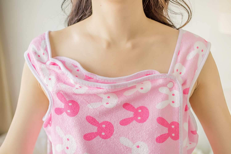 10-25 Years Old Young Lady Girls Bath Skirt Towel Wrap Beach Spa Bath Wrap Shower Skirt Easy Wear Clean Soft Polyster Microfiber Fabric Bathrobes Lady Girls Wearable Pink Heart