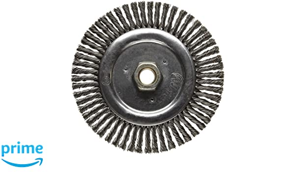 3//16 Brush Face Width Weiler Dualife Narrow Face Wire Wheel Brush 1-1//8 Bristle Length 5//8-11 Arbor 0.020 Wire Diameter Stringer Knotted 6 Diameter 12500 RPM Threaded Hole Steel