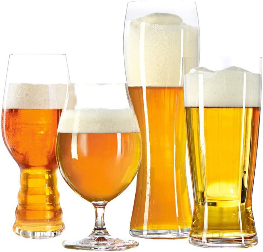 Spiegelau Classic Crystal Glass Set of 4 – IPA, Tulip, Lager, and Hefeweizen Gift Set Snobs, 4 Piece Beer Tasting Kit
