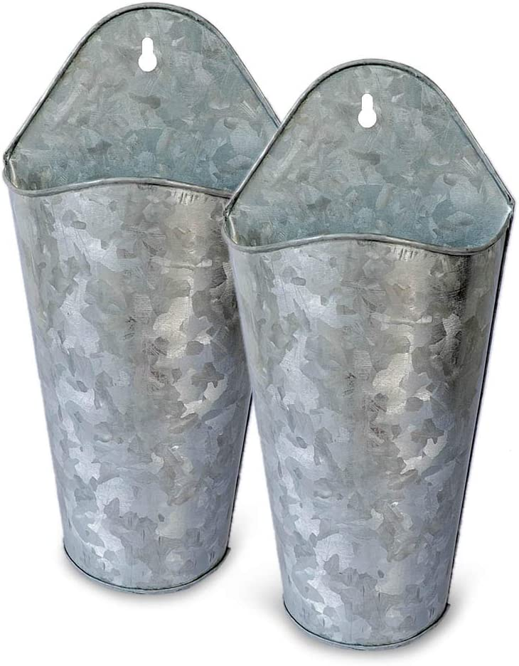 NIRMAN Galvanized Metal Wall Planter, 2 Sets Farmhouse Style Hanging Wall Vase Planters for Succulents or Herbs,Wall Planters for Country Rustic Home Wall Décor