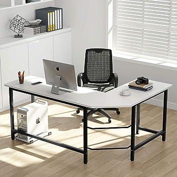 White L-shaped Computer Desk Corner PC Table Workstation Home Office w// Shelves