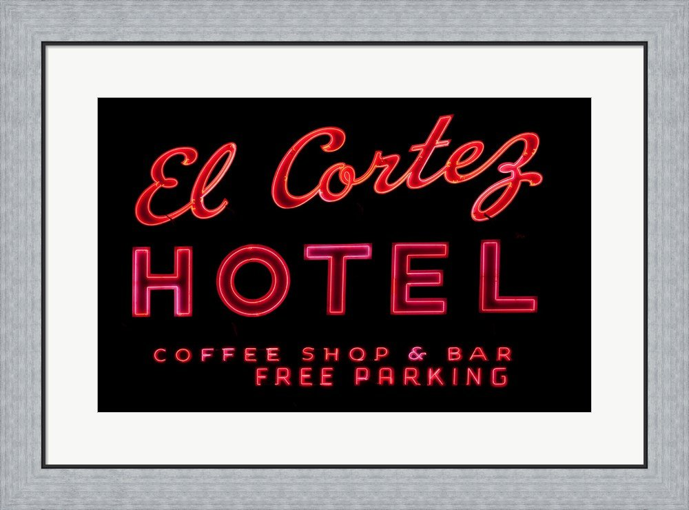 Historic El Cortez Hotel neon sign, Freemont Street, Las Vegas Framed Art Print Wall Picture, Flat Silver Frame, 30 x 22 inches