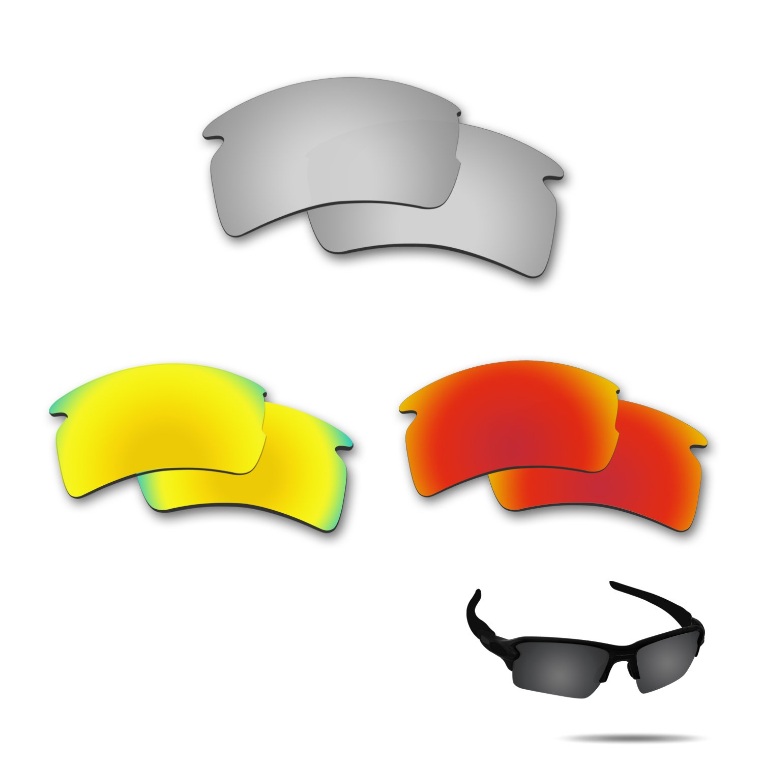 ec727aa145 Amazon.com   Fiskr Anti-Saltwater Polarized Replacement Lenses for Oakley  Flak 2.0 XL 3 Pair Pack   Sports   Outdoors