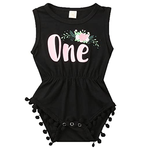 0e51af307 ONE'S New Baby Girls Summer Floral First Birthday Bodysuit Romper Outfits  (0-6 Months