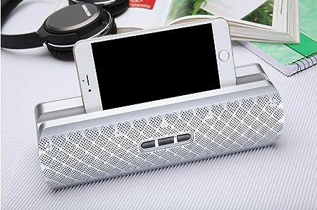 ZJHNZS Altavoz Bluetooth Ashion Square Altavoz Bluetooth Dock Soporte móvil portátil Radio FM Caixa de Som Subwoofer Activo Coche, Plata: Amazon.es: Electrónica