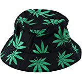 Leisial Men's Maple Leaves Bucket Hats Cotton Hats Unisex Caps
