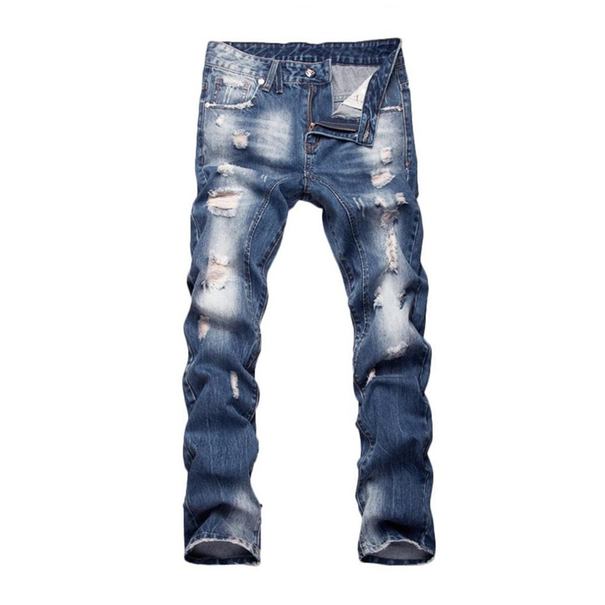 Blue Buttons Jeans Men Denim Ripped Pants Plus Size Cotton Hip Hop Mens Brand Trousers