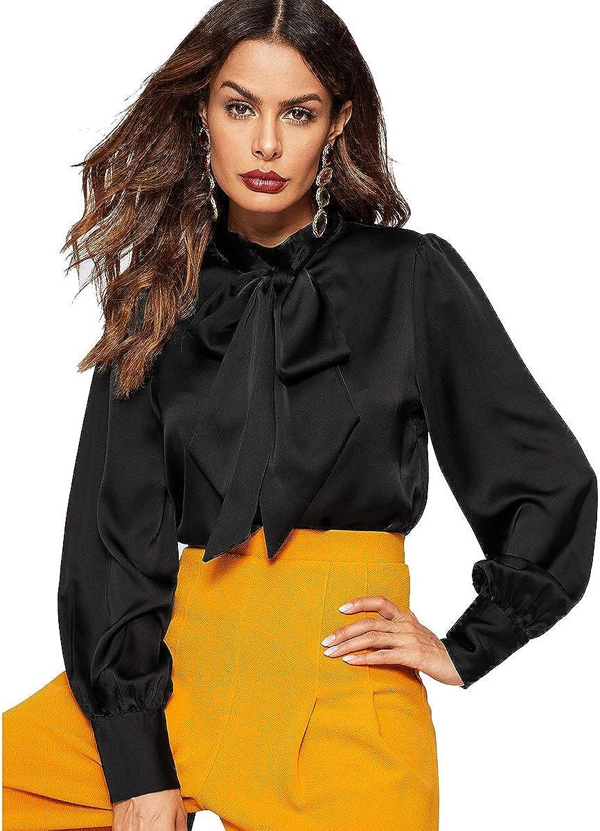 Romwe Women's Solid Print Elegant Bow Tie Neck Long Sleeve Work Office Blouse Top