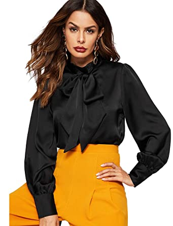 095cb866b Romwe Women's Satin Bishop Sleeve Bow Tie Neck Casual Office Work Blouse  Shirts Tops Black XS