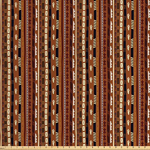 [Tribal Fabric by the Yard by Ambesonne, Ethnic African Pattern Stripes with Vintage Abstract Details and Cultural Ornaments, Decorative Fabric for Upholstery and Home Accents, Multicolor] (Quick Change Costume Pattern)