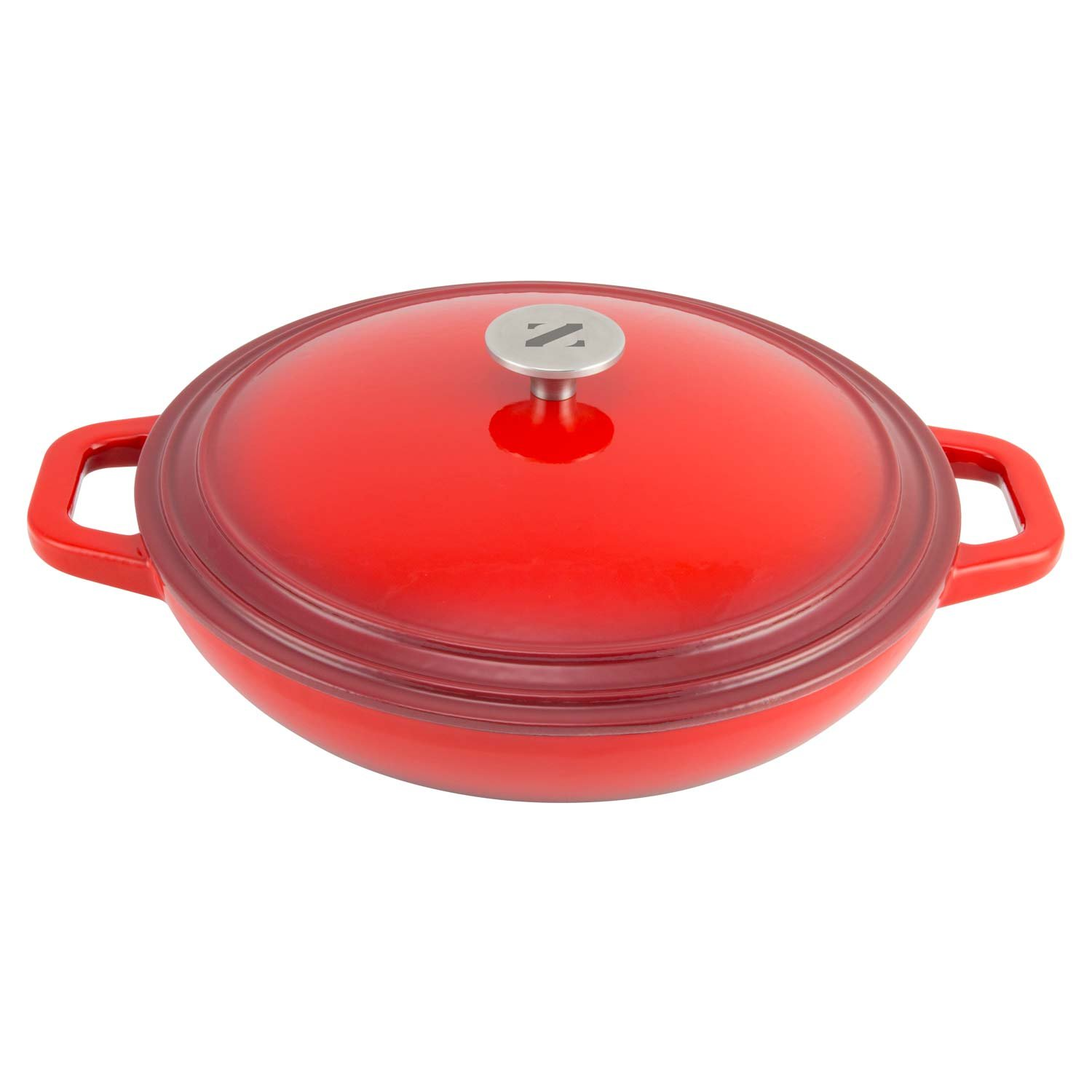 Zelancio Cookware 3-Quart Enameled Cast Iron Casserole Dish with lid, Perfect for Braising, Slow Cooking, Simmering and Baking, Cayenne Red
