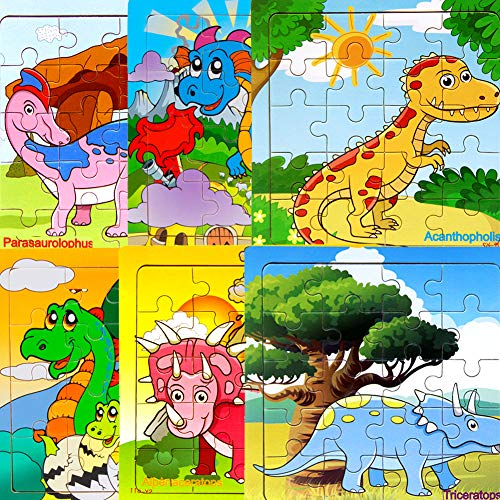 Wooden Dinosaur Jigsaw Puzzles Toys, 6 Pack Bulk Wood Puzzles with Storage Tray for Kids Toddlers Preschool Educational Learning Toys